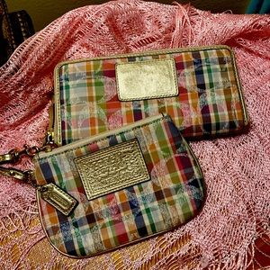 Coach plaid Poppy Wallet and wristlet set